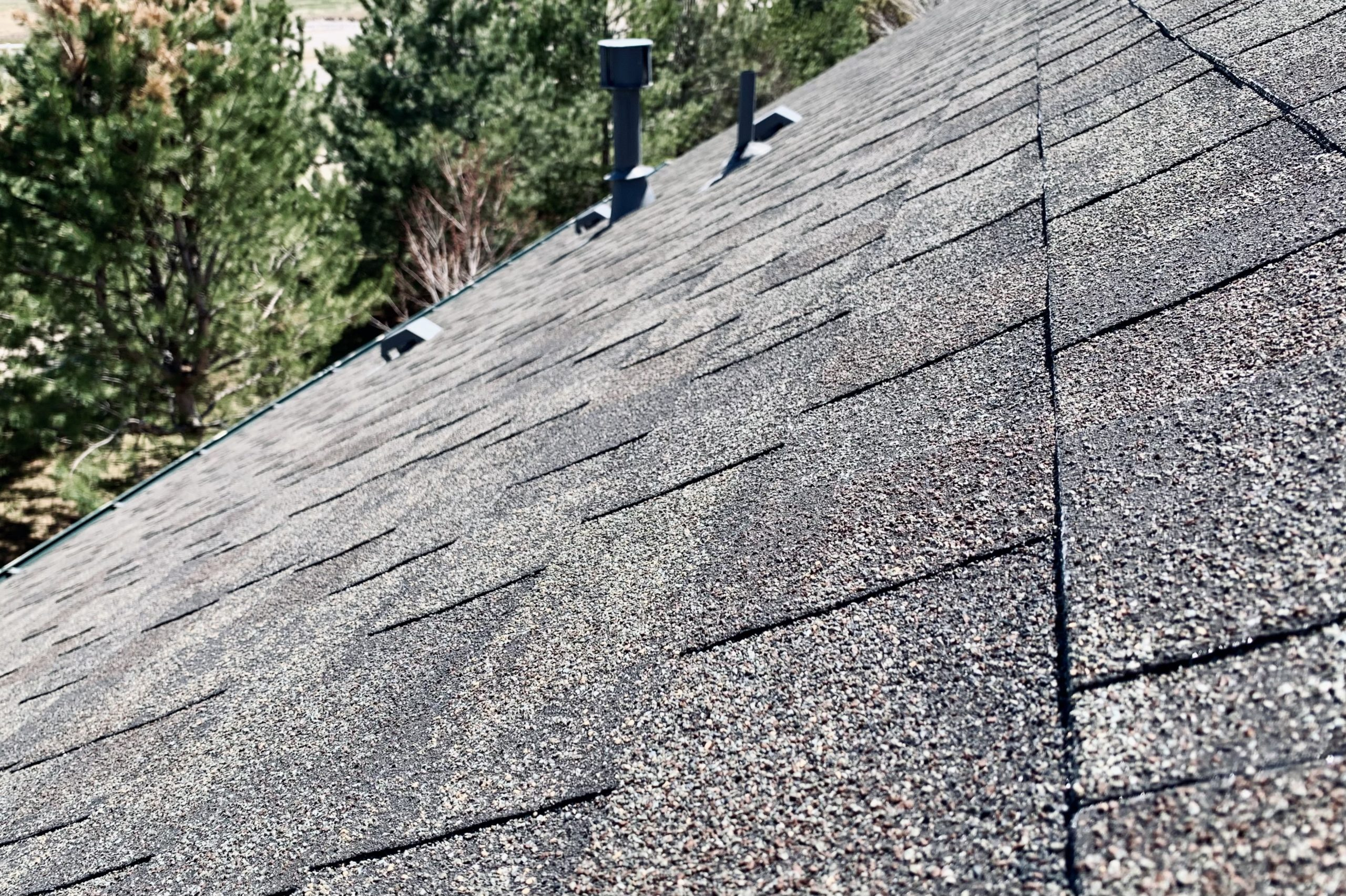 Worn shingles from age and heat